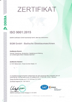 Certificate ISO 9001.2015